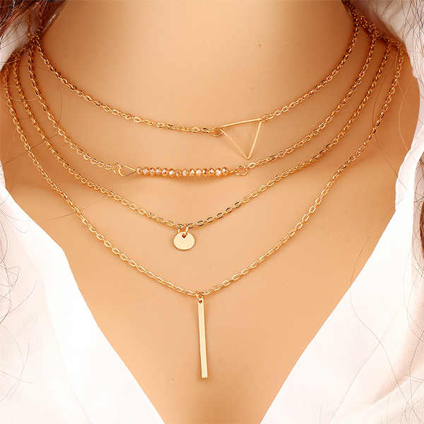 Gleaming Four Layered Gold Plated Chain Pendant For Women