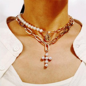 Religious Cross Pearl Decor Choker Necklace Pendant - Gold Plated