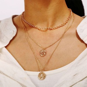 Multi Layered Gold Plated Chain Necklace Pendant