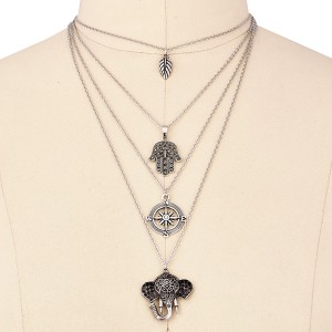 Four Layered Religious Silver Plated Pendant