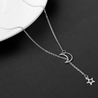 Moon And Star Silver Plated Chain Pendant