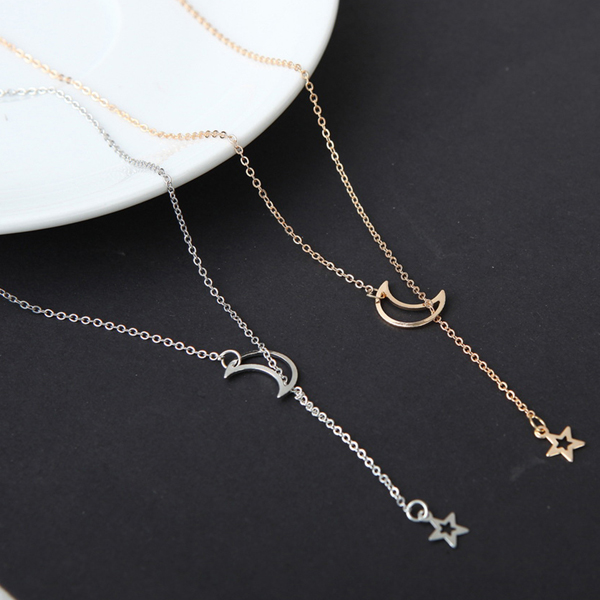 Moon And Star Gold Plated Chain Pendant