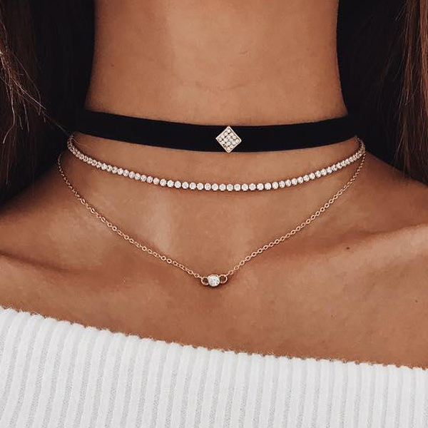 Three Layer Crystal Lace Choker Necklace