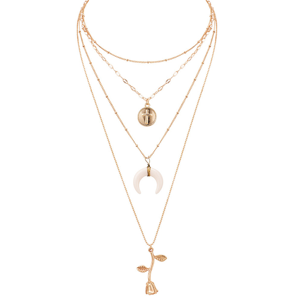 Gold Plated Cross Chain Five Layer Pendant
