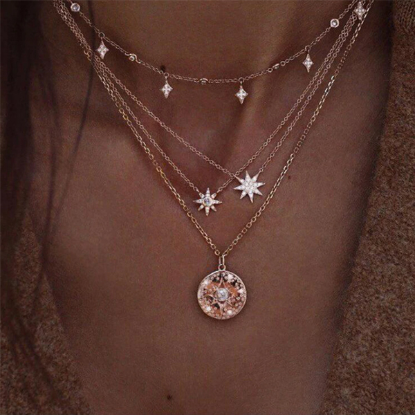 Decorative Stars Crystal Chain Pendant Necklace