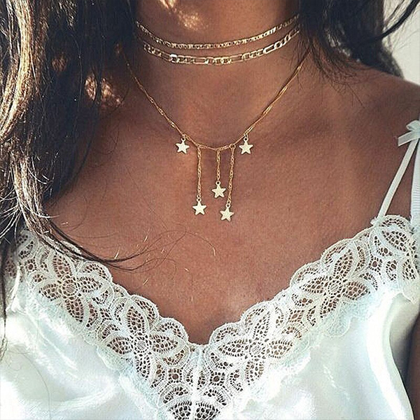 Three Layered Choker Chain Star Pendant