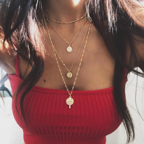 Gold Plated Four Layered Coin Pendant