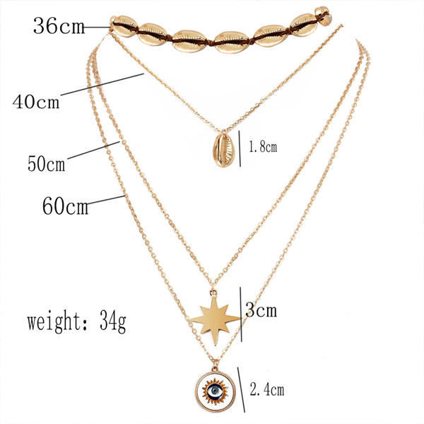 Gold Plated Chain Four Layered Necklace
