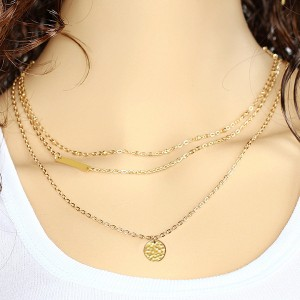 New Bar And Coin Triple Layered Chain Pendant
