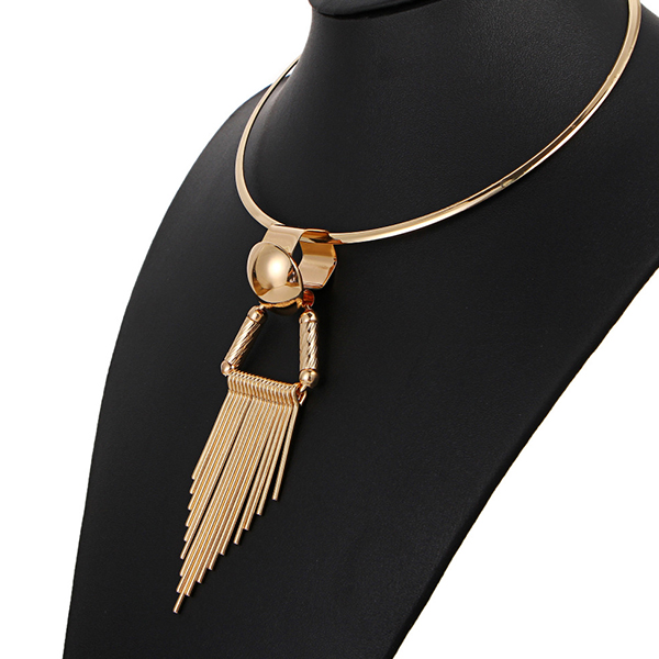 Gold Plated Tassel Choker Necklace