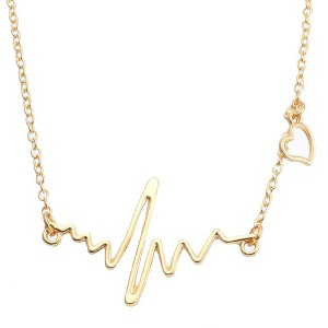 Gold Plated Heart Wave Necklace For Women