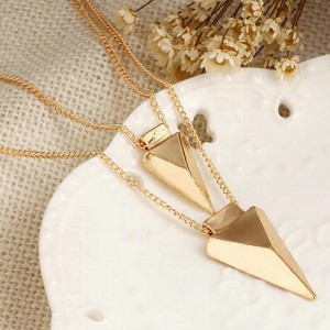 Double Layered Triangular Pendant With Gold Plated Chain