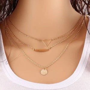 Gold Plated Multi Layered Necklace For Women