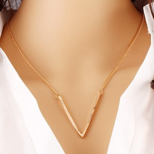 V Hanging Gold Plated Chain Pendant