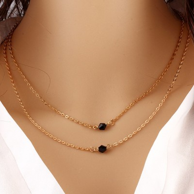Double Layered Gold Plated Choker Chain Necklace