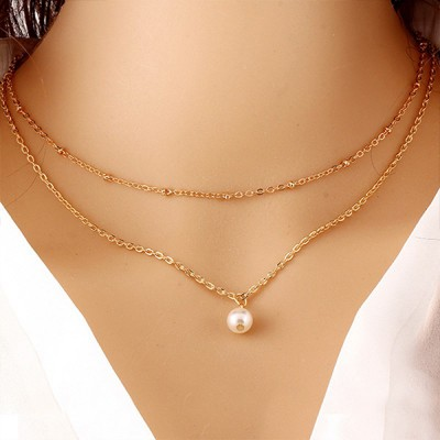 Pearl Beauty Pendant With Gold Plated Chain For Women