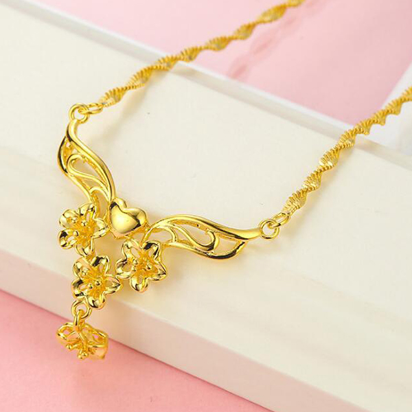 Gold Plated Chain Party Wear Necklace - Golden