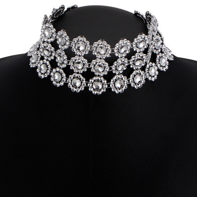 Triple Layer Silver Plated Party Necklace
