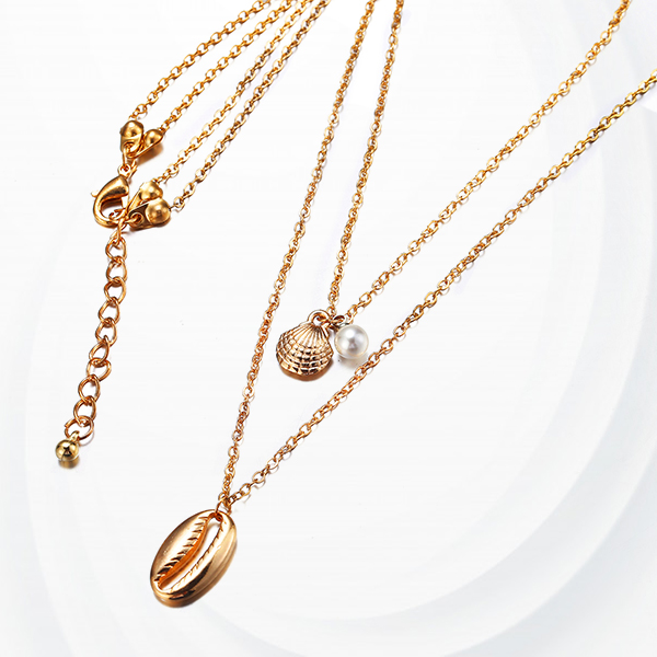 Sea Shell Bohemian Gold Plated Chain Women Necklace
