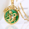 Dragon Engraved Gold Plated Chain Pendant