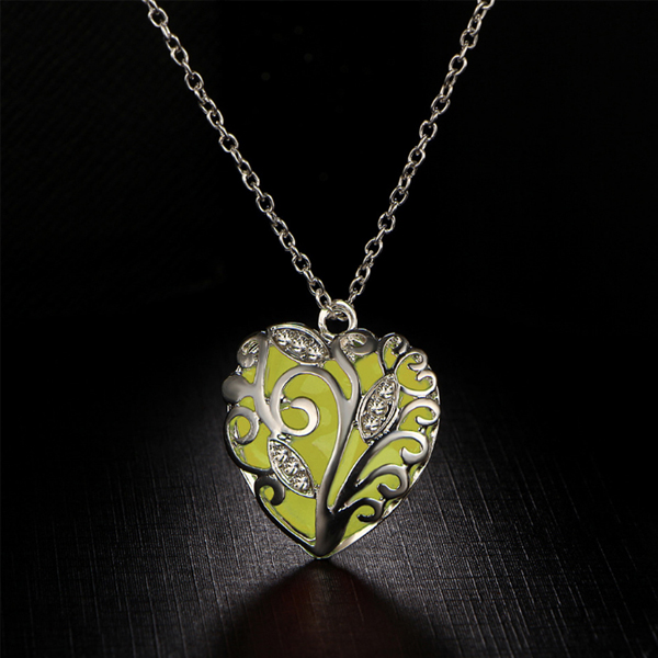 Silver Plated Engraved Yellow Heart Pendant