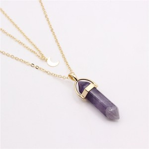 Purple Opal Stone Gold Plated Chain Pendant