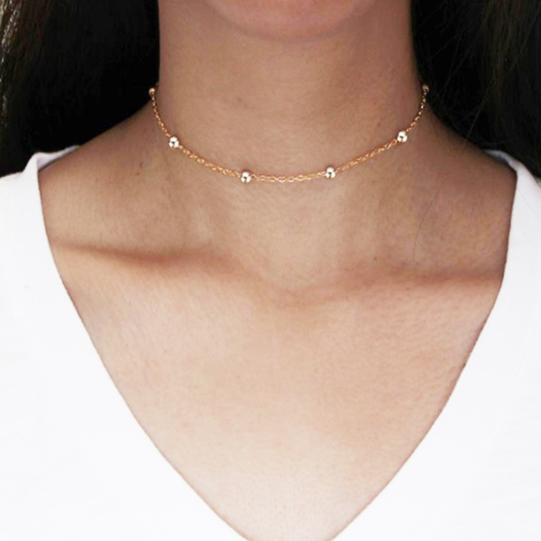 Gold Plated Beads And Chain Choker Necklace