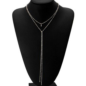 Dual Layer Silver Plated Long Chain Pendant