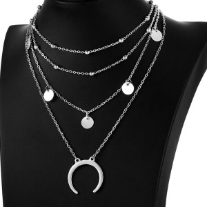 Four Layer Silver Plated Necklace