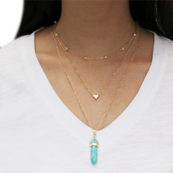 Beads With Heart Gold Plated Sky Blue Bar Stone Necklace