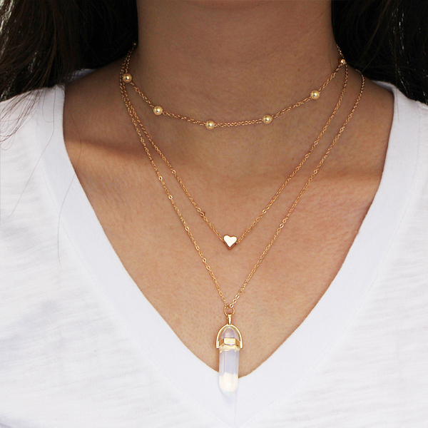 Beads With Heart Gold Plated White Bar Stone Necklace
