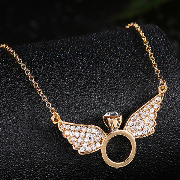 Gold Plated Crystal Decorated Angel Ring Necklace
