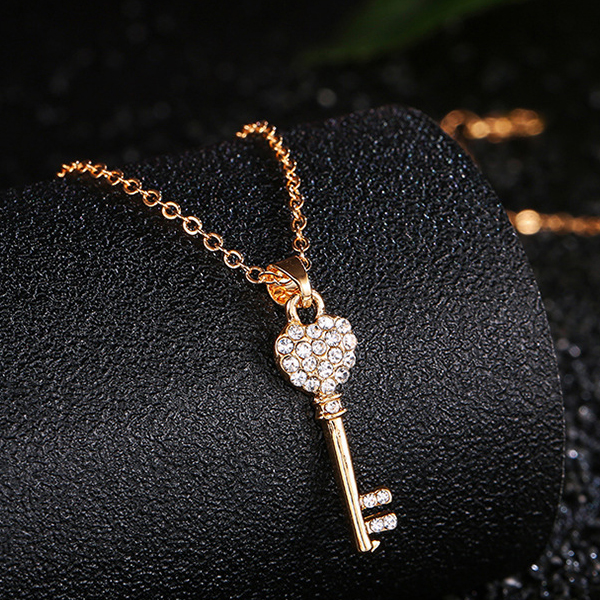 Crystal Key Pendant Gold Plated Chain Necklace
