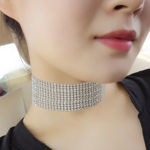 Quality Crystal Wedding Choker Necklace 3.5 CM