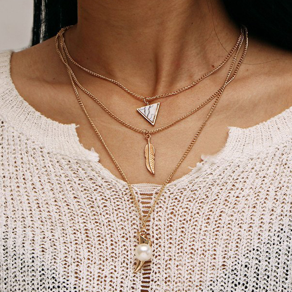 Three Layered Long Boho Pendant - Leaf And Pearl