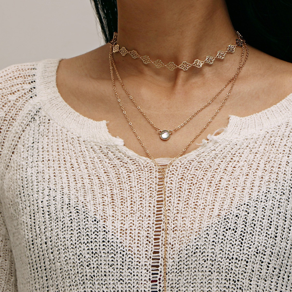 Three Layered Long Boho Pendant - Choker