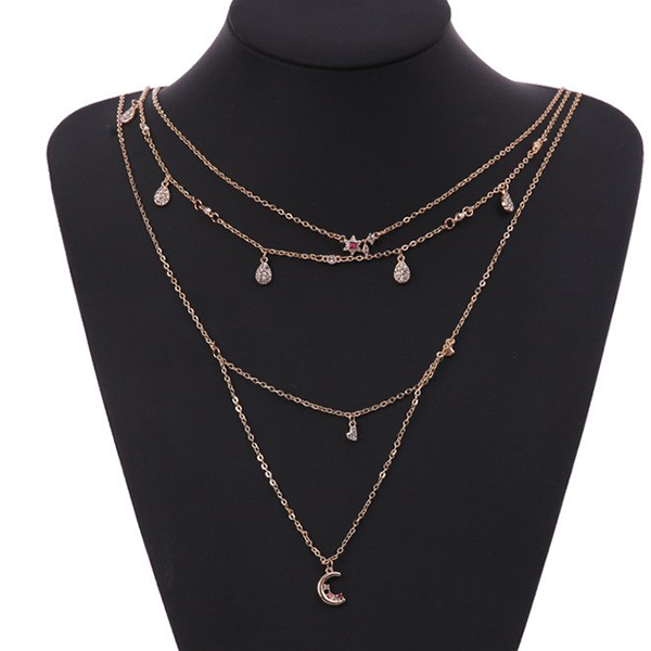 Gold Plated Crystal Decorated Chain Necklace