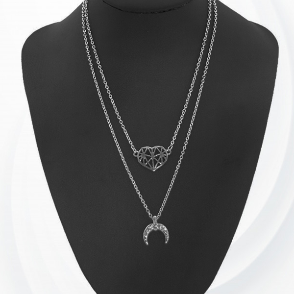 Silver Plated Double Layered Chain Pendant