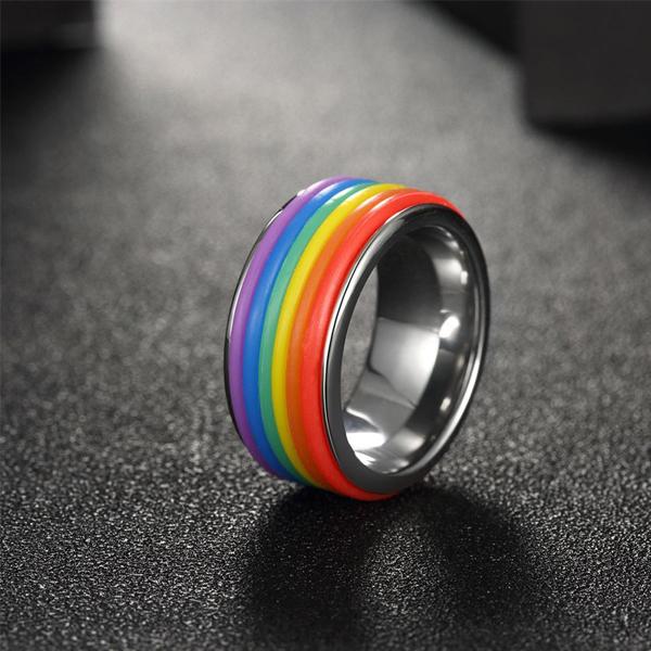 Fashionable Rainbow Colorful Titanium Steel Ring Silver