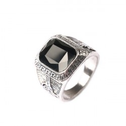 Gothic Jewelry Rings Black Resin Canal Ruby Silver For Men