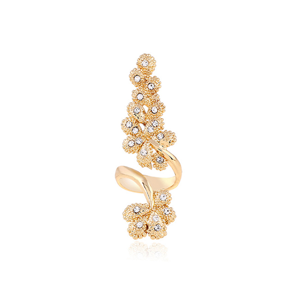 Shiny Crystal Flower Finger Ring Women Gold Plated Jewelry
