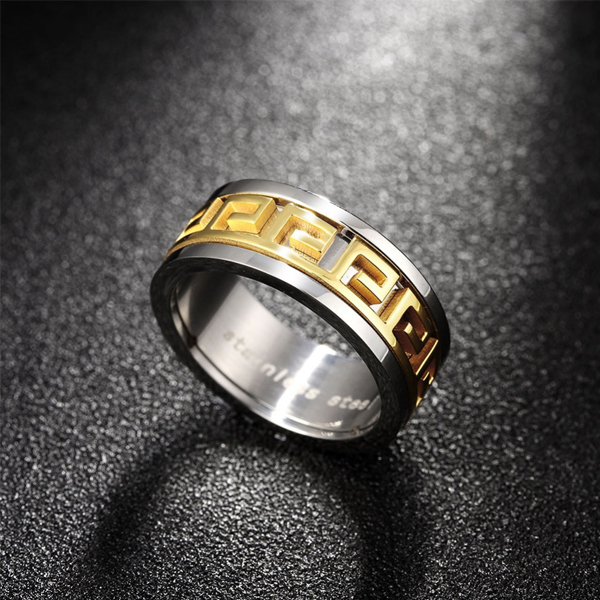 Double Ring Geometrical Titanium Steel Ring For Men