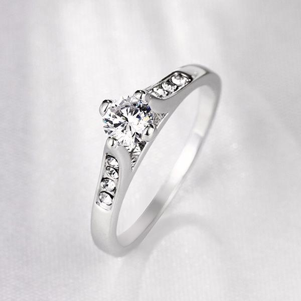 Rhinestone Classic Silver Party Fashion Flat Ring For Women