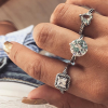 Multiple Shapes Crystal Decorative Rings Set