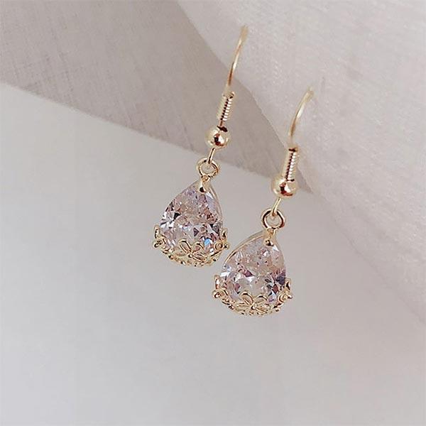 High-end Romantic Water Drop Crystal Earrings - Golden