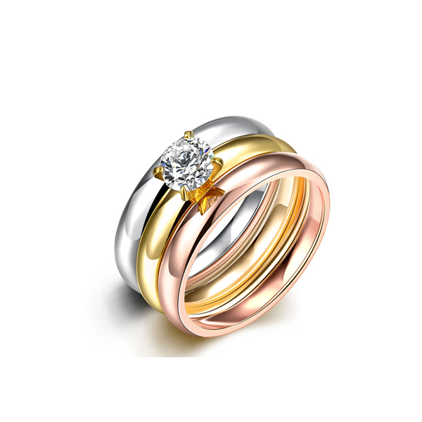 Round Diamond Prong Stainless Steel Three Rings For Women