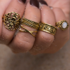 Five Pieces Rhinestone Decorative Engraved Rings Set - Golden