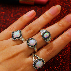 Four Pieces Bohemian Rhinestone Rings Set
