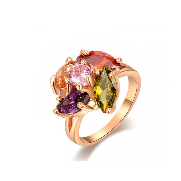 Roxi Colorful SWAROVSKI Elements Rose Gold Plated Ring