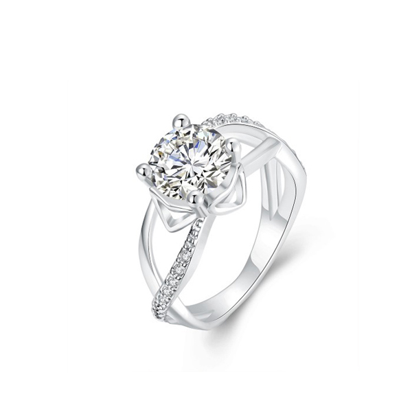 Prong Shape Diamond Ring Women Fashion Zircon Ring Silver